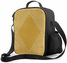 DJNGN Leakproof Lunch Bag Tote Bag,Geo Yellow