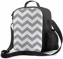 DJNGN Leakproof Lunch Bag Tote Bag,Gray and White