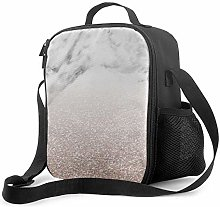 DJNGN Leakproof Lunch Bag Tote Bag,Marble Sparkle