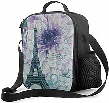 DJNGN Leakproof Lunch Bag Tote Bag,Purple Floral