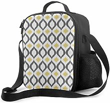 DJNGN Leakproof Lunch Bag Tote Bag,Retro Geometric