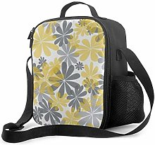 DJNGN Leakproof Lunch Bag Tote Bag,Yellow & Gray
