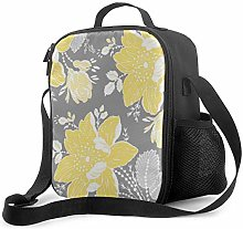 DJNGN Leakproof Lunch Bag Tote Bag,Yellow Gray