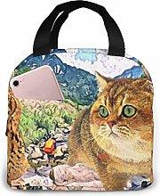 DJNGN Lunch Bag Camping Owl Orange Cat Tote Bag