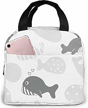 DJNGN Lunch Bag Cute Cartoon Whale Gray Tote Bag