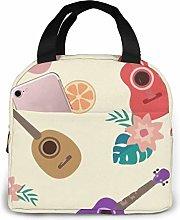 DJNGN Lunch Bag Guitar Floral Orange Leaf Tote Bag