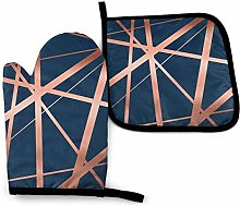 DJNGN Oven Mitts and Pot Holders Sets Navy and