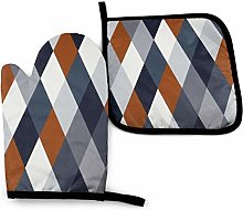 DJNGN Oven Mitts and Pot Holders Sets Navy Rust