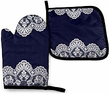 DJNGN Oven Mitts and Pot Holders Sets White Lace