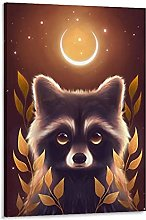 DJNGN Racoon Forest Guardian Canvas Art Poster and
