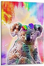 DJNGN Rainbow Koala Canvas Art Poster and Wall Art
