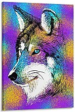 DJNGN Sketch Wolf Rainbow Canvas Art Poster and