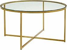 DJPP Desk,Round Coffee Table, Tempered Glass