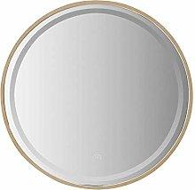 DJPP Mirror Solid Wood Round Smart Led Bathroom
