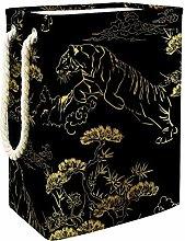 DJROWW Clothes Hamper Japanese Gold Tiger Large