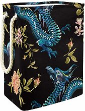DJROWW Laundry Bag Embroidery Floral Dragons And