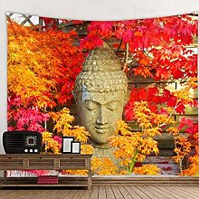 DJSK Buddha Statue Next to Green Leaves Tapestry