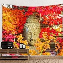 DJSK Buddha Statue Next to Green Leaves Tapestry