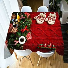 DJUX Christmas Tablecloth 3D Tablecloth Red