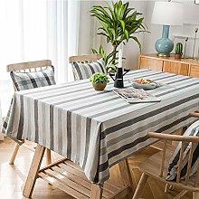 DJUX Simple Striped Table Cloth Cotton Linen Cloth