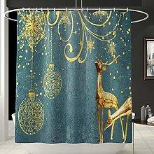 DKee shower curtain Golden Christmas Bell Reindeer