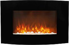 DKIEI Electric Fireplace Curved Glass Screen Wall