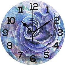 DKISEE Bluish Violet Rose Wooden Round Non Ticking
