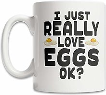 DKISEE Cute Egg Coffee Mug - I Love Eggs Coffee