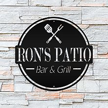 DKISEE Personalized Patio Bar & Grill Metal Sign,
