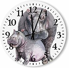 DKISEE Silent Non Ticking Quartz - Hippo Wooden