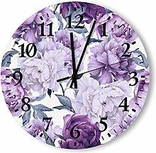 DKISEE Silent Non Ticking Quartz - Lilac Peonies