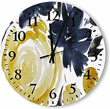 DKISEE Silent Non Ticking Quartz - Navy And Yellow