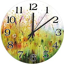 DKISEE Silent Non-Ticking Wooden Round Wall Clock