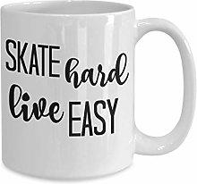 DKISEE Skater Gift Coffee Mug, Skate Hard Live