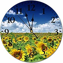 DKISEE Sunflowers Field Wall Clock, 10 Inch Silent