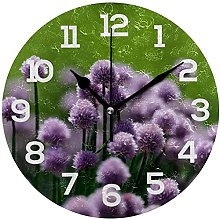 DKISEE Violet Flower Wooden Round Non Ticking Wall