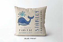 DKISEE Whale Baby Birth Stats Pillowcase, Whale