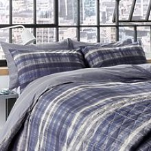 DKNY Ombre Stripe Double Duvet Cover Set, Dark Blue