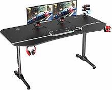 DlandHome Gaming Desk T-Shaped Computer Desk with