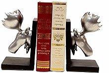 Dljyy Book Ends Creative Elk Resin Bookend Desk