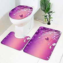 DLSM Non Slip Pedestal Bath Mat SetToilet Lid
