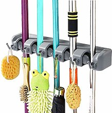 DM Broom and Mop Holder, Wall Mounted Multipurpose