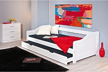 Dmora Single sofa bed with pull-out bed, white,