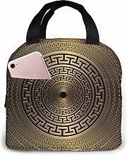 DODOD Gold 3D Geometric Greek Vector Round Mandala