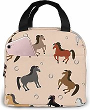 DODOD Portable Insulated Lunch Bag Horses in