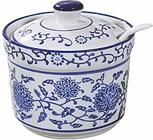 DoDola Blue and White Porcelain Sugar Bowl Spice