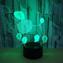 Dog 3D Night Light 7 Color Remote 3D Visual