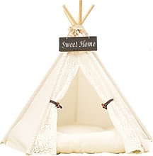 Dog Bed Tent Lace Pet Kennels Pet Play House Dog