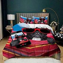 Dog Bedding Set, 3D Cartoon Pug Dogs Animal