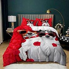 Dog Bedding Set, 3D Cartoon Pug Dogs Animal Design